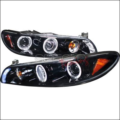Headlights & Tail Lights - Headlights - Spec-D - Pontiac Grand Prix Spec-D Projector Headlights - Gloss Black Smoke Lens 1PC - 2LCLHP-GPX97G-TM
