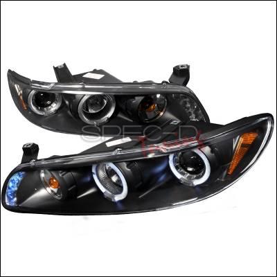 Headlights & Tail Lights - Headlights - Spec-D - Pontiac Grand Prix Spec-D Halo LED Projector Headlights - Black - 2LCLHP-GPX97JM-TM