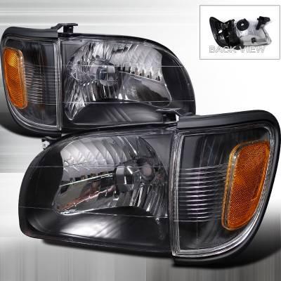 Headlights & Tail Lights - Headlights - Spec-D - Toyota Tacoma Spec-D Crystal Housing Headlights - Black - 2LCLH-TAC01JM-RS