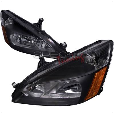 Headlights & Tail Lights - Headlights - Spec-D - Honda Accord Spec-D Crystal Housing Headlights - Black - 2LH-ACD03JM-RS