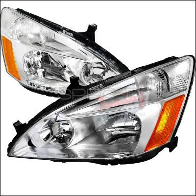 Headlights & Tail Lights - Headlights - Spec-D - Honda Accord Spec-D Euro Headlights - Chrome Housing - 2LH-ACD03-RS