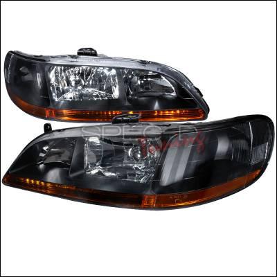 Headlights & Tail Lights - Headlights - Spec-D - Honda Accord Spec-D Crystal Housing Headlights - Black - 2LH-ACD98JM-RS