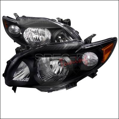 Headlights & Tail Lights - Headlights - Spec-D - Toyota Corolla Spec-D Euro Headlights - Black Housing - 2LH-COR09JM-RS