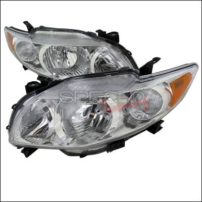 Headlights & Tail Lights - Headlights - Spec-D - Toyota Corolla Spec-D Euro Headlights - Chrome Housing - 2LH-COR09-RS
