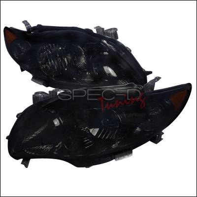 Headlights & Tail Lights - Headlights - Spec-D - Toyota Corolla Spec-D Euro Headlights - Smoke Lens - Black Housing - 2LH-COR09SM-RS