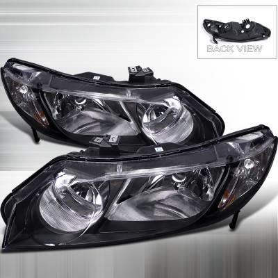 Headlights & Tail Lights - Headlights - Spec-D - Honda Civic 4DR Spec-D Black Housing Euro Headlight - 2LH-CV064JM-RS