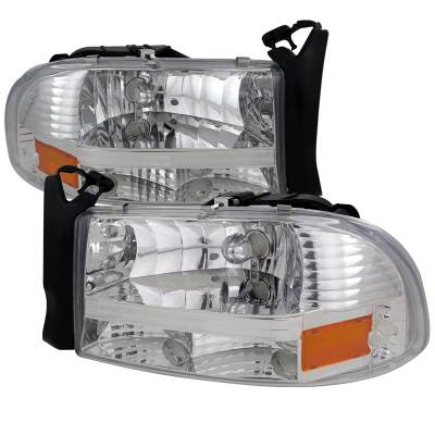 Headlights & Tail Lights - Headlights - Spec-D - Dodge Dakota Spec-D Chrome Headlight - 2LH-DAK97-ABM