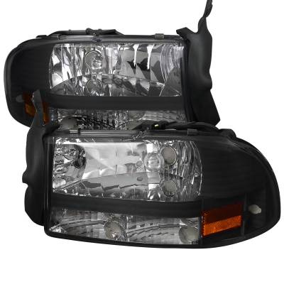 Headlights & Tail Lights - Headlights - Spec-D - Dodge Dakota Spec-D Black Headlight - 2LH-DAK97JM-ABM