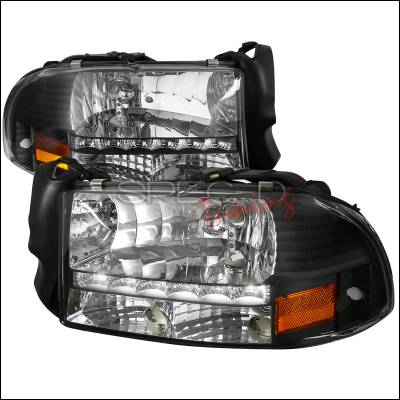 Headlights & Tail Lights - Headlights - Spec-D - Dodge Dakota Spec-D Black Headlight with LED - 2LH-DAK97JM-RS