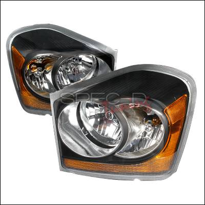 Headlights & Tail Lights - Headlights - Spec-D - Dodge Durango Spec-D Crystal Housing Headlights - Black - 2LH-DUR04JM-KS