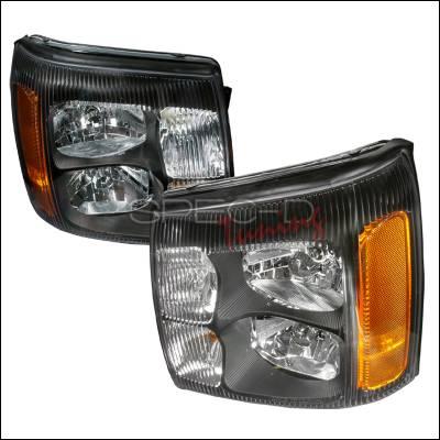 Headlights & Tail Lights - Headlights - Spec-D - Cadillac Escalade Spec-D Crystal Housing Headlights - Black - 2LH-ECLD02JM-DP