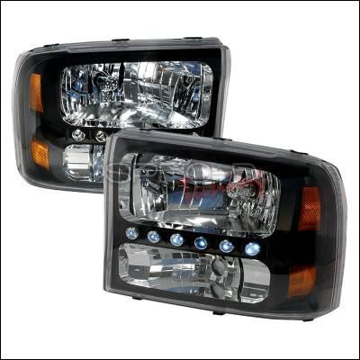 Headlights & Tail Lights - Headlights - Spec-D - Ford F250 Spec-D Crystal Housing Headlights - Black - 2LH-F25099JM-KS