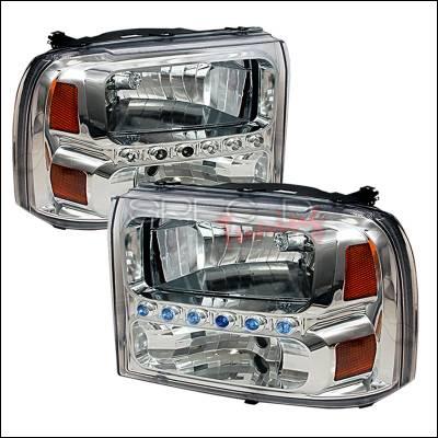 Headlights & Tail Lights - Headlights - Spec-D - Ford F250 Spec-D Crystal Housing Headlights - Chrome - 2LH-F25099-KS