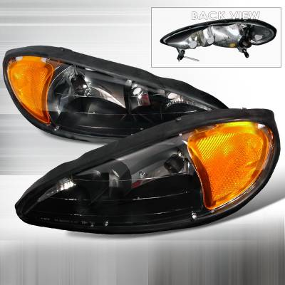 Headlights & Tail Lights - Headlights - Spec-D - Pontiac Grand Am Spec-D Crystal Housing Headlights - Black - 2LH-GAM99JM-KS