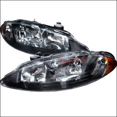 Headlights & Tail Lights - Headlights - Spec-D - Dodge Intrepid Spec-D Crystal Housing Headlights - Black - 2LH-ITRE98JM-KS