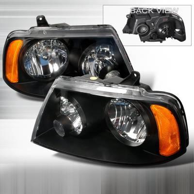 Headlights & Tail Lights - Headlights - Spec-D - Lincoln Navigator Spec-D Crystal Housing Headlights - Black - 2LH-NAV03JM-KS