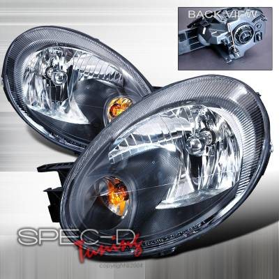 Headlights & Tail Lights - Headlights - Spec-D - Dodge Neon Spec-D Crystal Housing Headlights - Black - 2LH-NEO03JM-KS