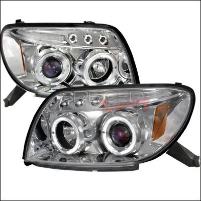 Headlights & Tail Lights - Headlights - Spec-D - Toyota 4Runner Spec-D Halo LED Projector Headlights - Chrome - 2LHP-4RUN03B-TM