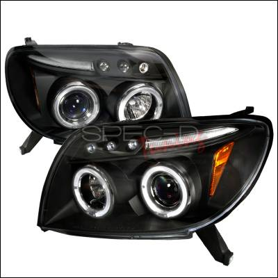 Headlights & Tail Lights - Headlights - Spec-D - Toyota 4Runner Spec-D Halo LED Projector Headlights - Black - 2LHP-4RUN03JMB-TM