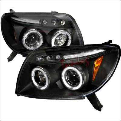 Headlights & Tail Lights - Headlights - Spec-D - Toyota 4Runner Spec-D Halo LED Projector Headlights - Black - 2LHP-4RUN03JM-TM