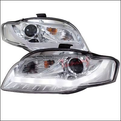 Headlights & Tail Lights - Headlights - Spec-D - Audi A4 Spec-D R8 Style Projector Headlights with LED Signal - Chrome - 2LHP-A406-8V2-TM