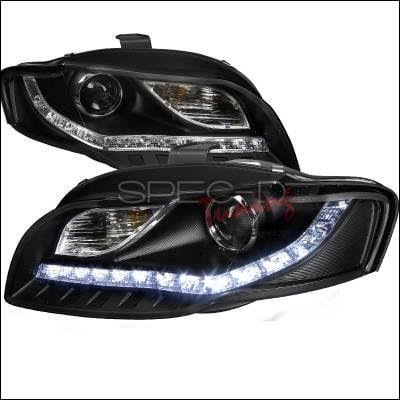 Headlights & Tail Lights - Headlights - Spec-D - Audi A4 Spec-D R8 Style Projector Headlights - Black - 2LHP-A406JM-8-TM