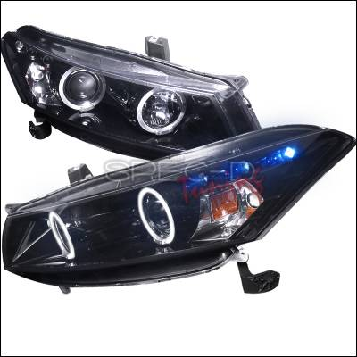 Headlights & Tail Lights - Headlights - Spec-D - Honda Accord Spec-D Black Housing Projector Headlights - Smoked Lens Gloss - 2LHP-ACD082G-TM