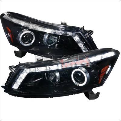 Headlights & Tail Lights - Headlights - Spec-D - Honda Accord 4DR Spec-D Gloss Black Housing Projector Headlights - Smoked Lens - 2LHP-ACD084G-TM