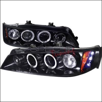 Headlights & Tail Lights - Headlights - Spec-D - Honda Accord Spec-D Black Housing Projector Headlights - Smoked Lens Gloss - 2LHP-ACD94G-TM