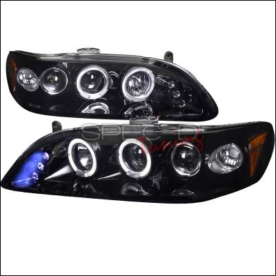 Headlights & Tail Lights - Headlights - Spec-D - Honda Accord Spec-D Black Housing Projector Headlights - Smoked Lens Gloss - 2LHP-ACD98G-TM