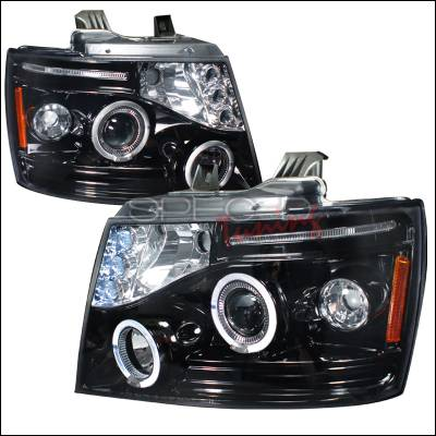 Headlights & Tail Lights - Headlights - Spec-D - Chevrolet Avalanche Spec-D Halo Projector Headlight Gloss - Black Housing - Smoke Lens - 2LHP-AVA07G-TM