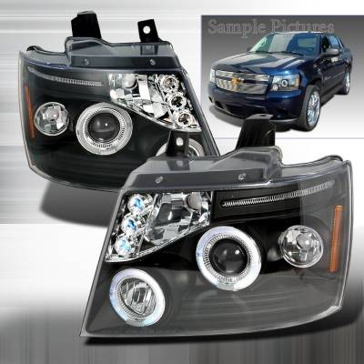 Headlights & Tail Lights - Headlights - Spec-D - Chevrolet Avalanche Spec-D Halo LED Projector Headlights - Black - 2LHP-AVA07JM-TM