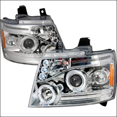 Headlights & Tail Lights - Headlights - Spec-D - Chevrolet Avalanche Spec-D Halo LED Projector Headlights - Chrome - 2LHP-AVA07-TM