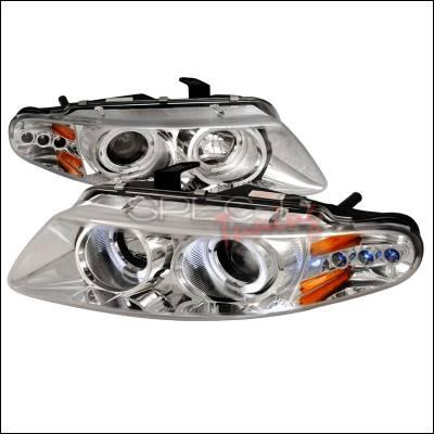 Headlights & Tail Lights - Headlights - Spec-D - Dodge Avenger Spec-D Halo LED Projector Headlights - Chrome - 2LHP-AVG97-TM