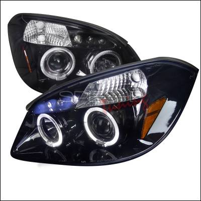 Headlights & Tail Lights - Headlights - Spec-D - Chevrolet Cobalt Spec-D Black Housing Projector Headlights - Smoked Lens Gloss - 2LHP-COB05G-TM