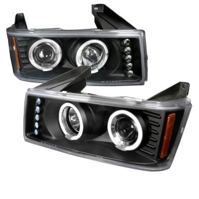 Headlights & Tail Lights - Headlights - Spec-D - GMC Canyon Spec-D Halo LED Projector Headlights - Black - 2LHP-COL04HJM-TM
