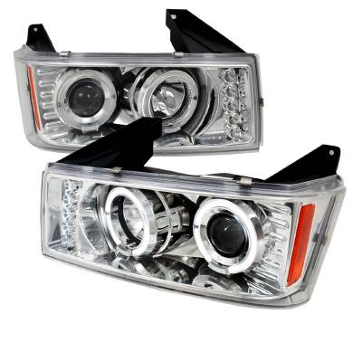Headlights & Tail Lights - Headlights - Spec-D - GMC Canyon Spec-D Halo LED Projector Headlights - Chrome - 2LHP-COL04H-TM
