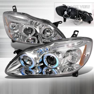 Headlights & Tail Lights - Headlights - Spec-D - Toyota Corolla Spec-D Halo LED Projector Headlights - Chrome - 2LHP-COR03-TM