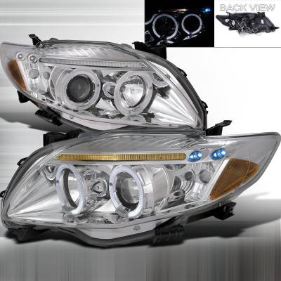 Headlights & Tail Lights - Headlights - Spec-D - Toyota Corolla Spec-D Halo Projector Headlight - 2LHP-COR09-TM