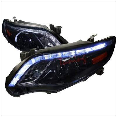 Headlights & Tail Lights - Headlights - Spec-D - Toyota Corolla Spec-D Projector Headlight Gloss - Black Housing with Smoked Lens - 2LHP-COR11G-TM