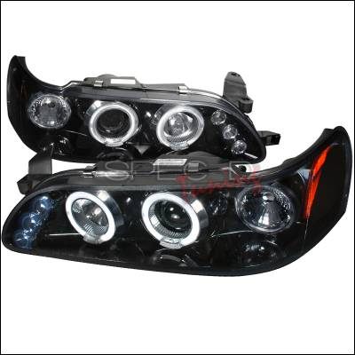 Headlights & Tail Lights - Headlights - Spec-D - Toyota Corolla Spec-D Halo Projector Headlight Gloss - Black Housing - Smoke Lens - 2LHP-COR93G-TM
