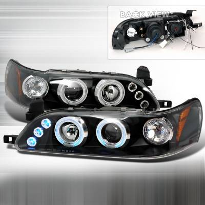 Headlights & Tail Lights - Headlights - Spec-D - Toyota Corolla Spec-D Halo LED Projector Headlights - Black - 2LHP-COR93JM-TM