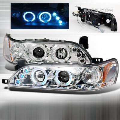 Headlights & Tail Lights - Headlights - Spec-D - Toyota Corolla Spec-D Halo LED Projector Headlights - Chrome - 2LHP-COR93-TM
