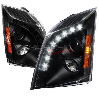 Headlights & Tail Lights - Headlights - Spec-D - Cadillac CTS Spec-D Halo Projector Headlight - Black - 2LHP-CTS08JM-RS