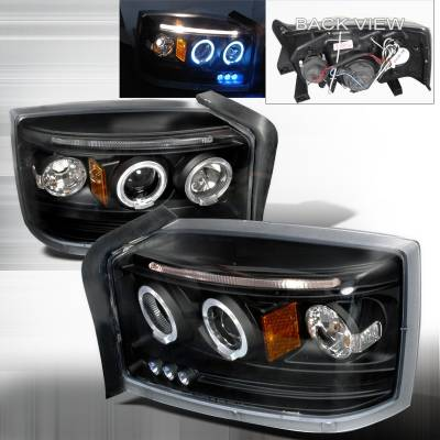 Headlights & Tail Lights - Headlights - Spec-D - Dodge Dakota Spec-D Halo LED Projector Headlights - Black - 2LHP-DAK05JM-TM