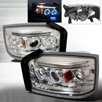 Headlights & Tail Lights - Headlights - Spec-D - Dodge Dakota Spec-D Halo LED Projector Headlights - Chrome - 2LHP-DAK05-TM