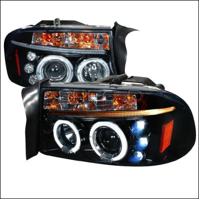 Headlights & Tail Lights - Headlights - Spec-D - Dodge Dakota Spec-D Halo Projector Headlight Gloss - Black Housing - Smoke Lens - 2LHP-DAK97G-TM