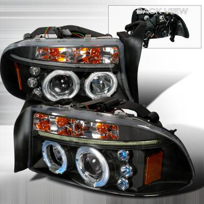 Headlights & Tail Lights - Headlights - Spec-D - Dodge Dakota Spec-D Halo LED Projector Headlights - Black - 2LHP-DAK97JM-TM