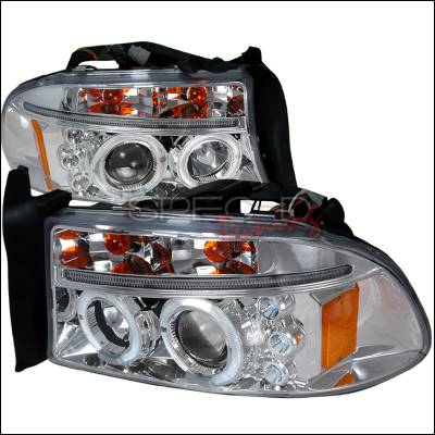 Headlights & Tail Lights - Headlights - Spec-D - Dodge Dakota Spec-D Halo LED Projector Headlights - Chrome - 2LHP-DAK97-TM