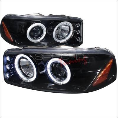 Headlights & Tail Lights - Headlights - Spec-D - GMC Denali Spec-D Halo Projector Headlight Gloss - Black Housing - Smoke Lens - 2LHP-DEN00G-TM